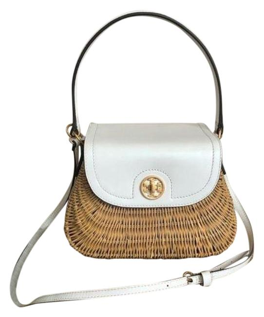 Item - Rattan Lacquered Leather Basket White Tan Satchel