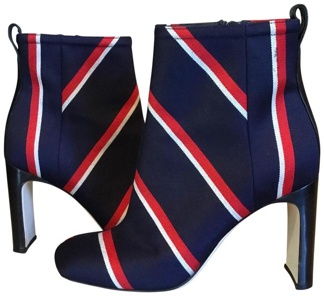 Item - Blue Red White Ellis Leather Trim Striped Twill Boots/Booties Size EU 38 (Approx. US 8) Regular (M, B)