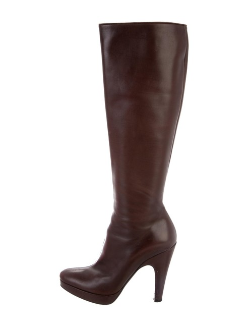 Item - Brown Sz6 Burgundy Leather Classic Knee-high Platform Boots/Booties Size EU 36.5 (Approx. US 6.5) Narrow (Aa, N)