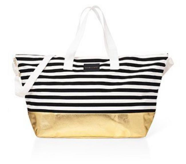 Item - Bag Limited Edition Weekender Black White Gold Canvas Tote