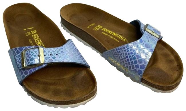 Item - Blue Madrid Birko-flor Shiny Snake Slides Sandals Size US 7 Regular (M, B)