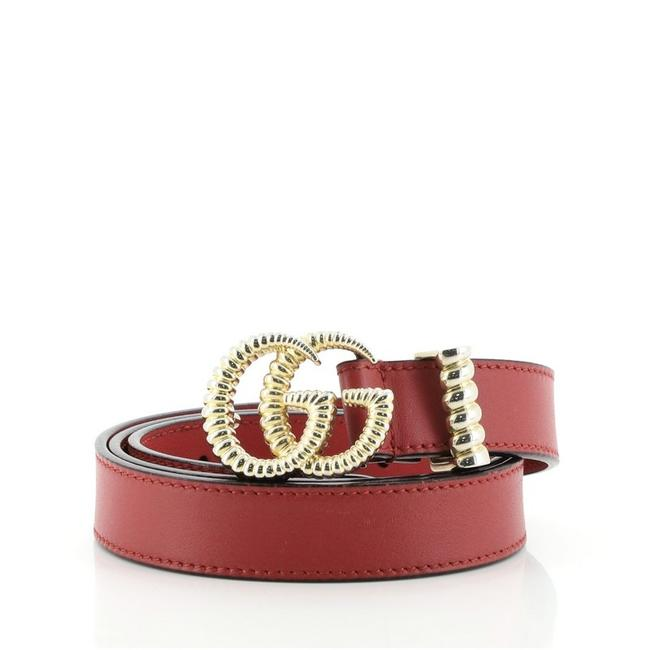 Gucci Red Gg Torchon Leather Thin Belt Gucci Red Gg Torchon Leather Thin Belt Image 1