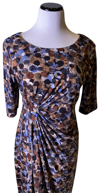 Item - Brown and Blue Midi Mid-length Work/Office Dress Size 10 (M)