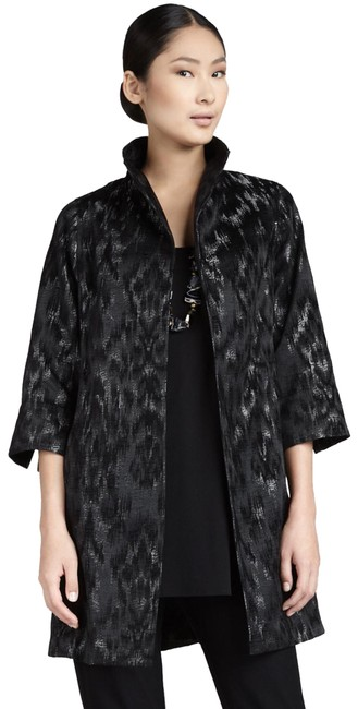 Item - Black and Pewter Blurred Ikat Jacquard Jacket Size Petite 4 (S)