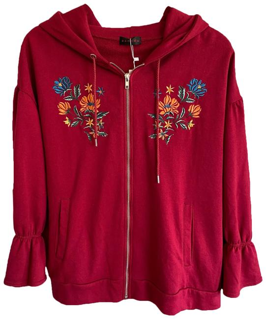 Item - Red Embroidery Hoodie Zip Jacket Size 14 (L)