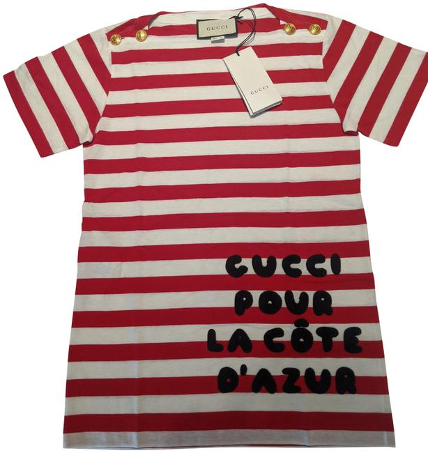 Item - Red & White Stripe Cotton with Patch T-shirt 562362 Côte D'azur Tee Shirt Size 2 (XS)