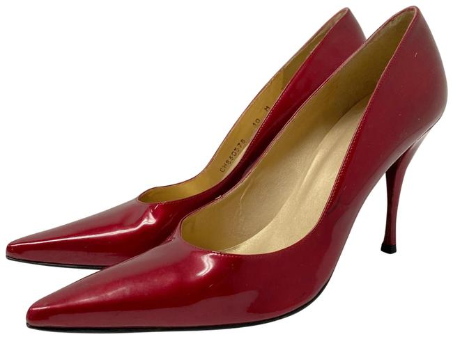 Item - Red Patent Leather Pointy Toe Heels Pumps Size US 10 Regular (M, B)