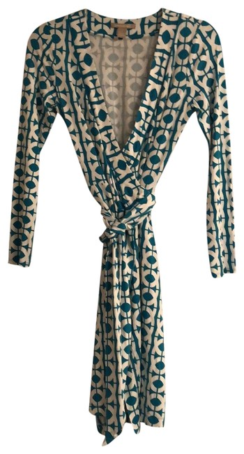 Item - Aqua Blue and White Wrap Mid-length Work/Office Dress Size 4 (S)