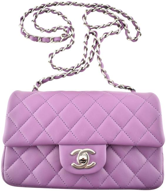 Item - Crossbody 20b Mini Rectangle Rectangular Silver Cc Quilted Flap Chain Purple Lambskin Leather Shoulder Bag
