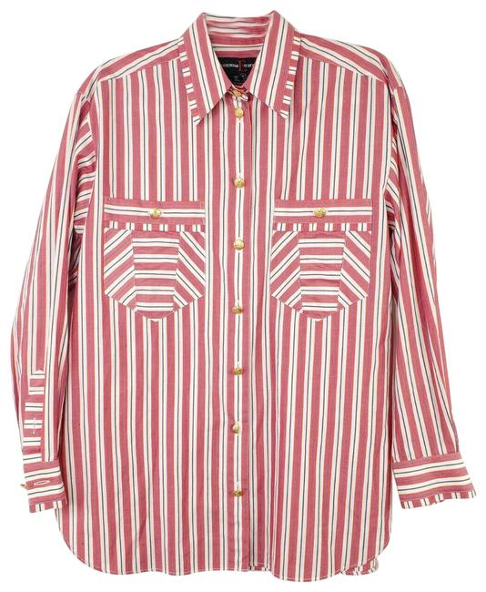 Item - Red White Striped Long Sleeved Gold Collared Shirt Button-down Top Size 4 (S)