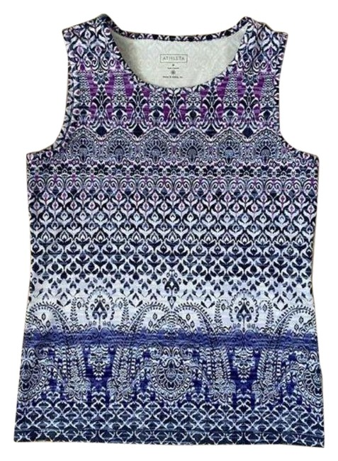 Item - Purple White Geometric Print Workout Activewear Top Size 8 (M)