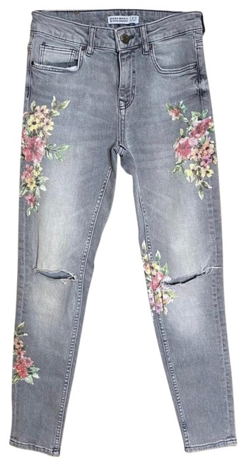 Item - Gray/Pink Light Wash Basic Denim-gray with Floral Details Skinny Jeans Size 2 (XS, 26)