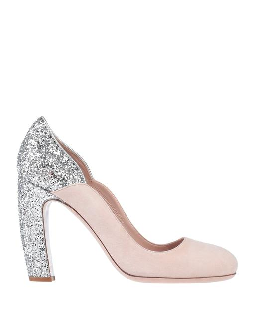 Item - Nude Pink New Glitter Heel Suede Leather Pumps Size EU 37 (Approx. US 7) Regular (M, B)