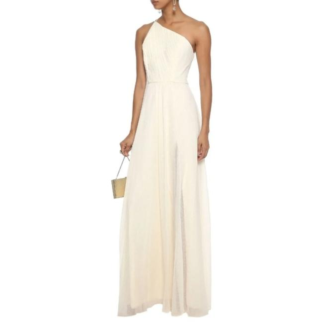 Item - Ivory Cream One Shoulder Pleated Metallic Georgette Gown Long Formal Dress Size 10 (M)
