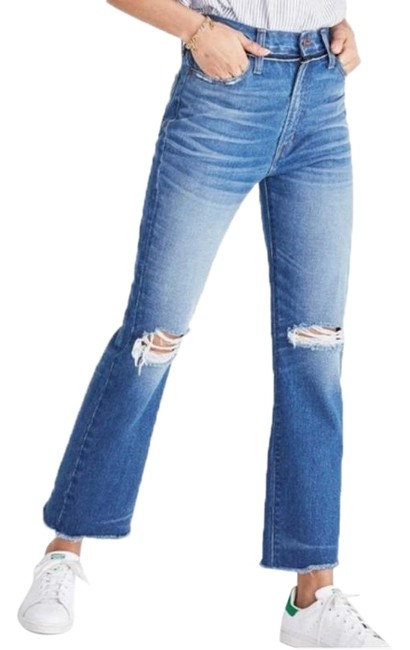 Item - Blue Distressed Retro Ripped Knee Crop Boot Cut Jeans Size 28 (4, S)