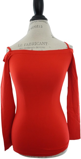 Item - Stretch Off The Shoulder Sleeve Stretch Fitted Red Sweater