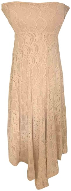 Item - Beige Cream Peach Victorian Spanish Lace Strapless Convertible Skirt Mid-length Night Out Dress Size 2 (XS)