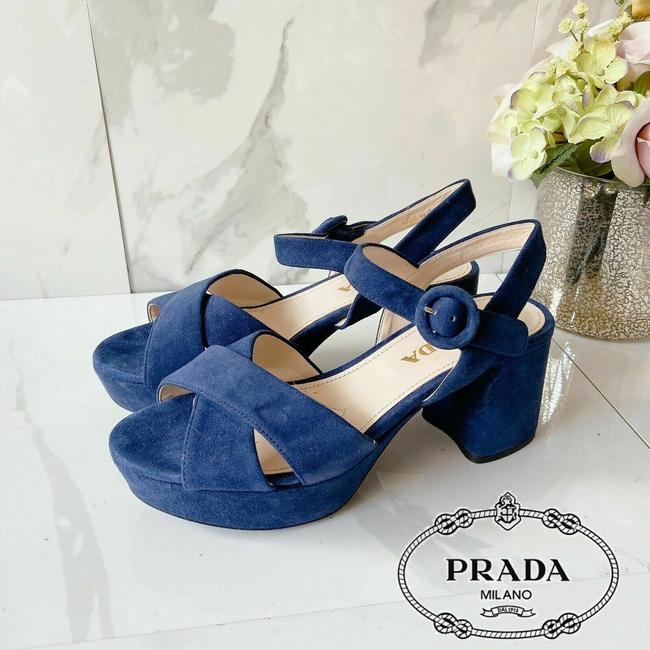 Item - Blue Navy Heels Sandals Crisscross Suede Ankle Strap Platforms Size US 5 Regular (M, B)