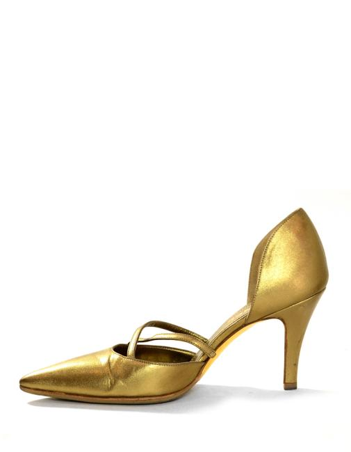 Item - Gold Leather Pointy Pumps Size EU 37.5 (Approx. US 7.5) Regular (M, B)