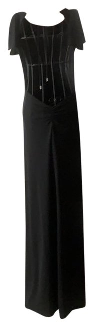 Item - Black Plunging Backless Gown Long Formal Dress Size 2 (XS)