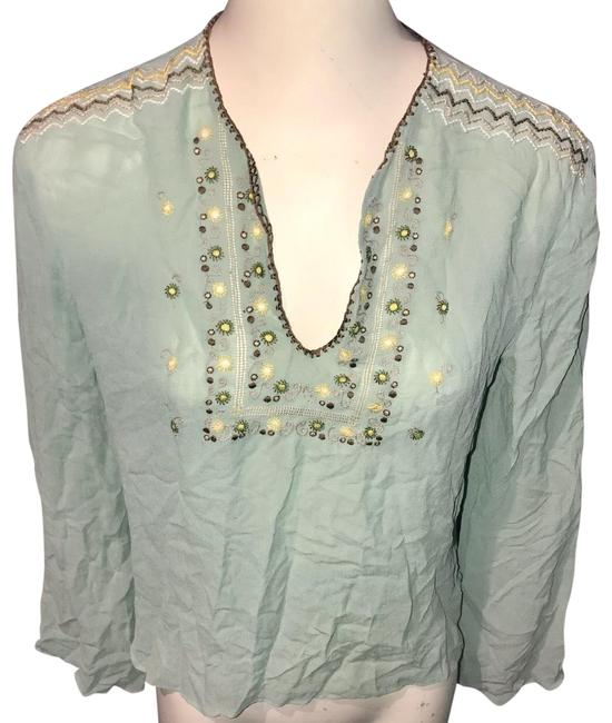 Item - Green Embroidered Blouse Size 8 (M)