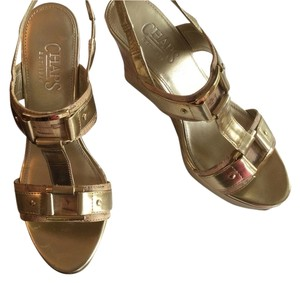 Chaps Cork Summer Sandals Buckle Gold Wedges