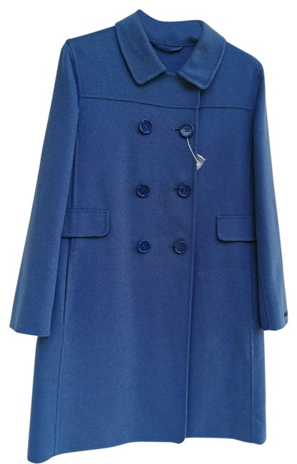 Item - Dusty Royal Blue Virgin Wool and Angora Double Breasted Coat Size 4 (S)