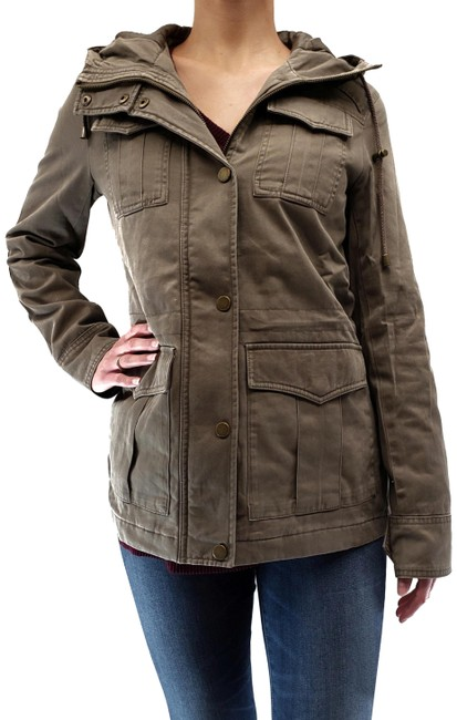 Item - Khaki Women's Anorak Hooded Jacket Size 12 (L)