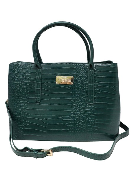 Item - Aubrey Croc Green Faux Leather Satchel
