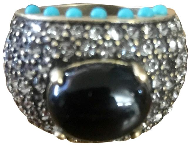 Item - Black Onyx & Paved Austrian Crystals Dome Ring