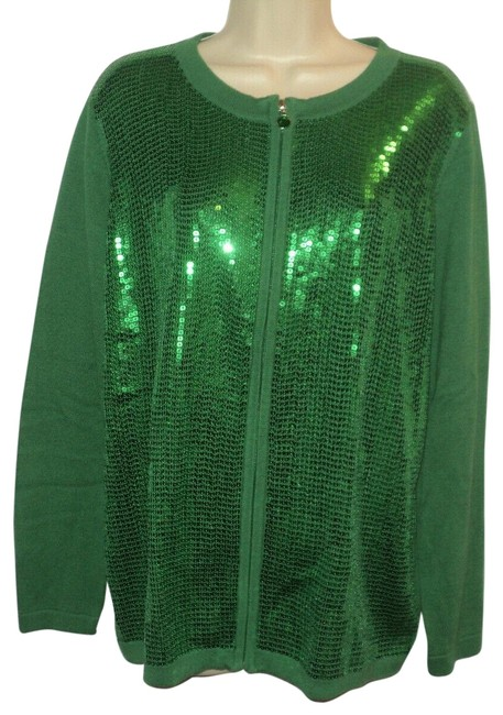 Item - Green Sequined Front Full Zip Long Sleeves Cotton Blend Cardigan Size 10 (M)