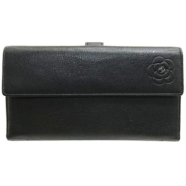 Item - Charcoal Gray Purse Camellia Leather A46509cc Coco Mark Butterfly Bi-fold Wallet