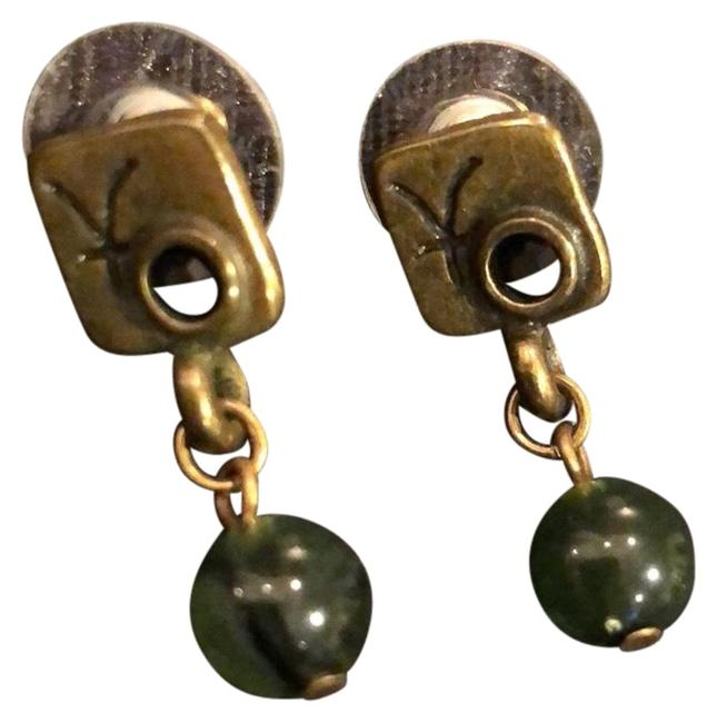 Item - Bronze with Green and Black Stones Earrings