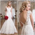 Justin Alexander Ivory Lace Alencon Fit and Flare Beaded Open Back Vintage Wedding Dress Size 4 (S) Justin Alexander Ivory Lace Alencon Fit and Flare Beaded Open Back Vintage Wedding Dress Size 4 (S) Image 5