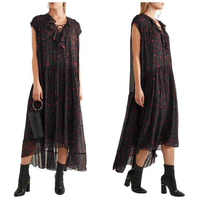 Item - Black Janie Floral Printed Georgette Long Night Out Dress Size 8 (M)