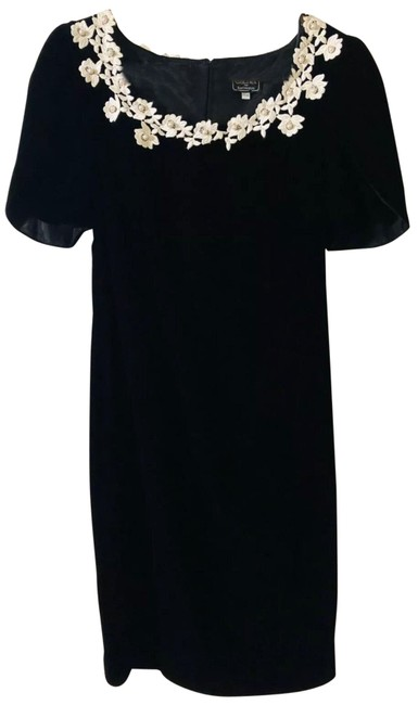Item - Black Pearls Velour 13/14 - Evening Floral Long Night Out Dress Size 14 (L)