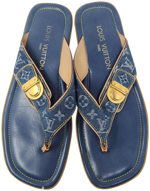 Item - Blue Multicolor Idylle Lv Monogram Denim Sandals Size EU 38 (Approx. US 8) Regular (M, B)