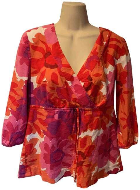 Item - Pink White Orange Purple Abstract Floral Blouse Size 8 (M)