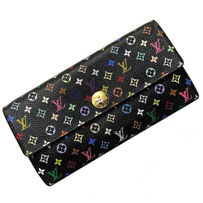 Item - Black / Monogram / Monogram / Multi-color / Noir / Purple / Violet / Violet Portofeuil Sarah Multi M60273 Old Bi-fold Canvas Ca0142 Ladies Wallet