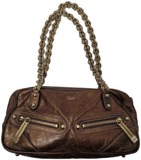Gucci Bronze Leather Shoulder Bag Gucci Bronze Leather Shoulder Bag Image 1