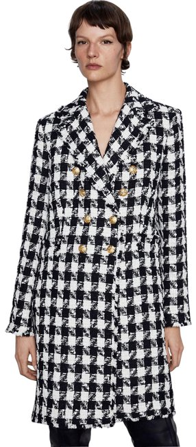 Item - Multicolor W Tweed Double Breasted W/ Gold Buttons Houndstooth Black/White S New. Coat Size 6 (S)
