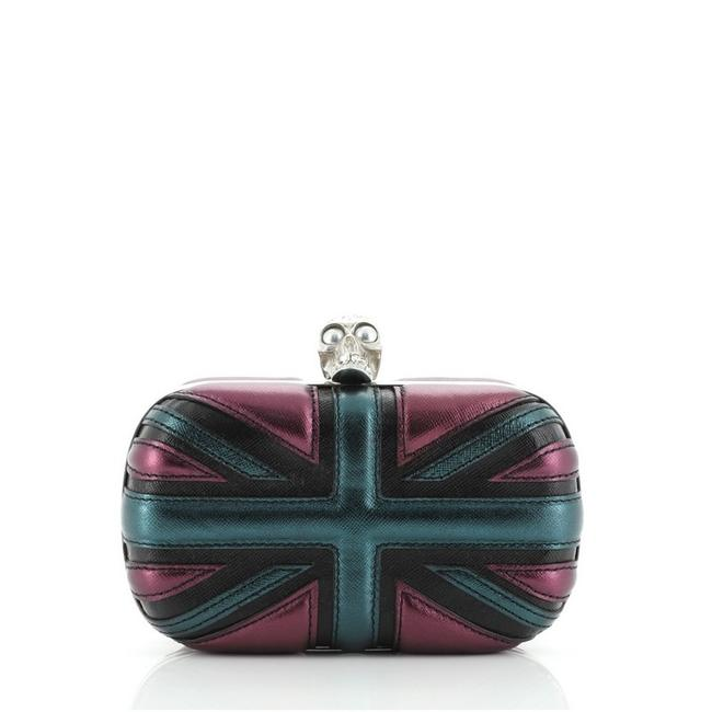 Item - Britannia Skull Small Blue Multicolor Purple Leather Clutch