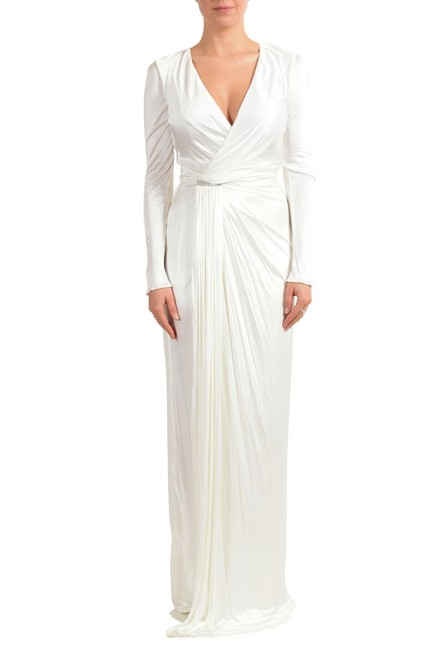 Item - White Women's Embroidered Evening Long Formal Dress Size 4 (S)