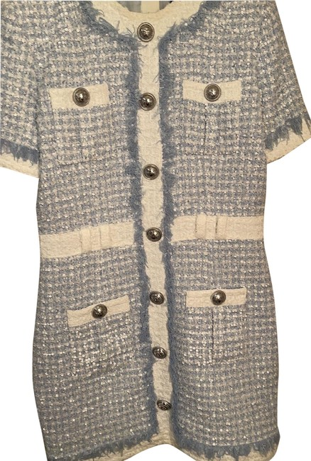 Item - Light Blue and White Sequined Tweed Mini Short Work/Office Dress Size 10 (M)