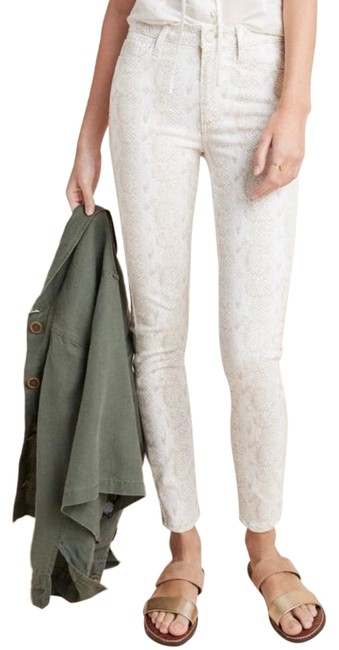 Item - Beige / Tan / Nude Light Wash Hoxton High-rise In Neutral Motif Skinny Jeans Size 2 (XS, 26)