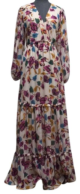 Item - Ivory Fuschia Gold Teal And Floral Printed Nina Long Casual Maxi Dress Size 10 (M)