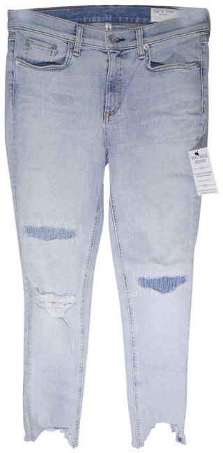 Item - Blue Distressed Ankle with Thrashed Hem In Lynn with Holes Skinny Jeans Size 28 (4, S)