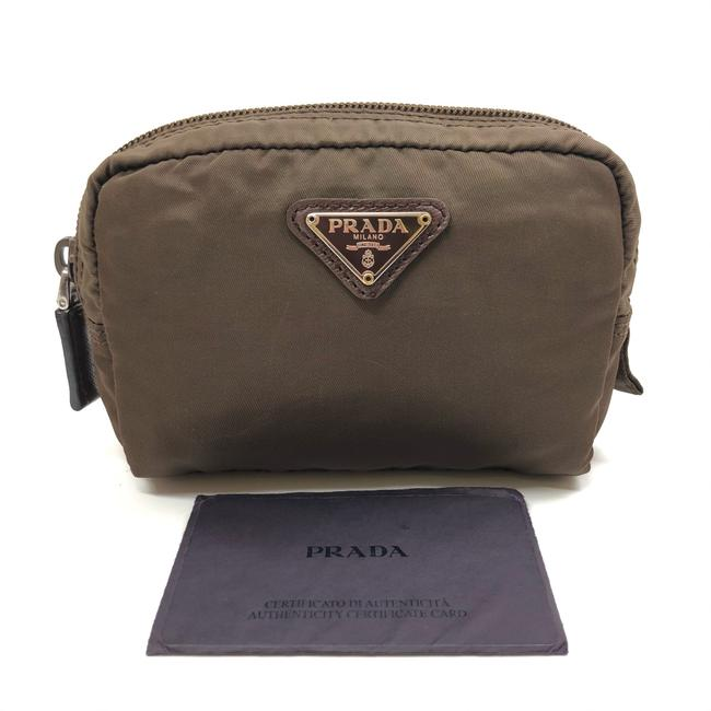 Item - Khaki W Womens Nylon Mini Pouch / / Toilet Logo Cosmetic Bag