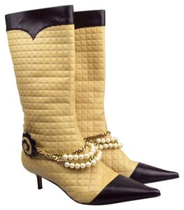 Chanel Beige/ Black Boots