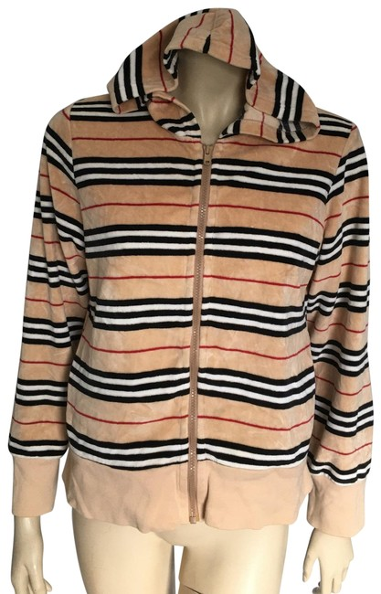 Item - Tan Stripe Classic Zip-up Hoodie Activewear Size 10 (M)
